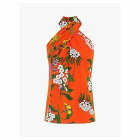 Karen Millen Floral Halterneck Silk Top, Red/Multi