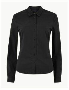 M&S Collection Cotton Rich Tailored Shirt