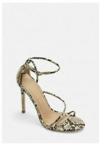 Grey Snake Asymmetric Barely There Heels, Grey
