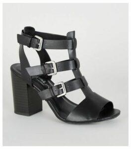Black Leather-Look Caged Block Heels New Look