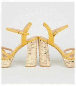 Wide Fit Mustard Woven Strap Cork Heels New Look