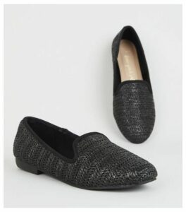 Wide Fit Black Woven Raffia Loafers New Look
