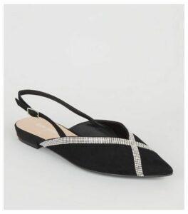 Black Suedette Diamanté Trim Slingbacks New Look