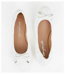 Wide Fit White Leather-Look Ballet Pumps New Look