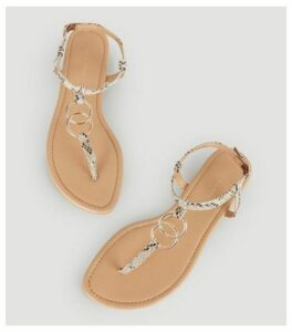 Stone Faux Snake Ring Strap Flat Sandals New Look