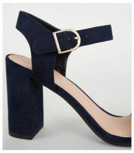 Navy Suedette Ankle Strap Block Sandals New Look Vegan