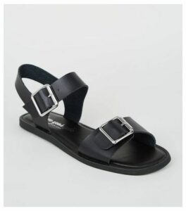 Wide Fit Black Leather-Look Buckle Sandals New Look