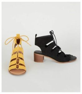 Mustard Ghillie Lace Up Low Heel Sandals New Look Vegan