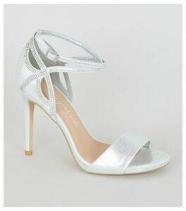 Wide Fit Silver Shimmer Diamanté Strap Stilettos New Look