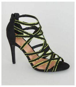 Yellow Neon Faux Snake Trim Stilettos New Look