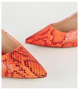 Wide Fit Orange Neon Faux Snake Slingback Heels New Look