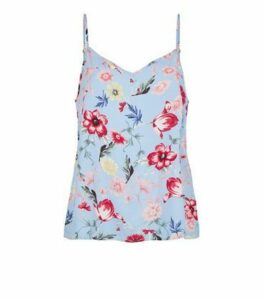 JDY Blue Floral Cami New Look