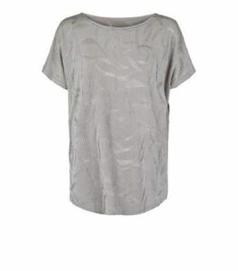 Blue Vanilla Grey Jacquard Ripple Effect Top New Look