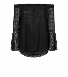 Mela Black Lace Bardot Blouse New Look