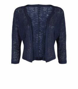 Apricot Navy Mesh Knit Shrug New Look