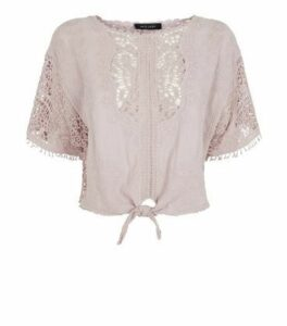 Pale Pink Crochet Tie Front T-Shirt New Look