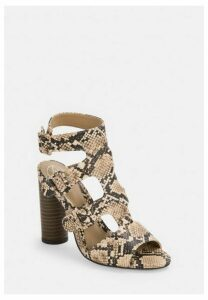 Snake Print Multi Buckle Block Stacked Sandals, Grey