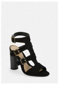 Black Multi Buckle Block Heeled Sandals, Black