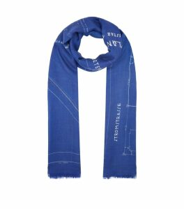 Silk-Cashmere Blueprint Scarf