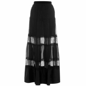 Perseverance Lace Panel Maxi Skirt - Black