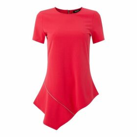 DKNY Asymmetrical Zip Top - Hibiscus