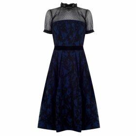 Perseverance Two tone Brocade Dress - Navy