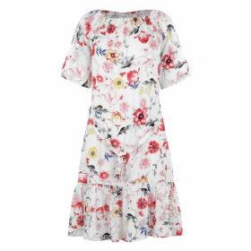 JDY Star Off Shoulder Dress - White Floral