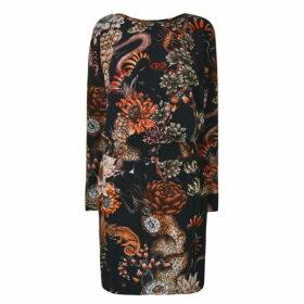JUST CAVALLI Floral Print Midi Dress - Blue Navy Vari