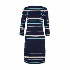 Slash Neck Variegated Stripe Dress