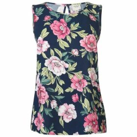 JDY Star Sleeveless Top - Navy w/ Flower