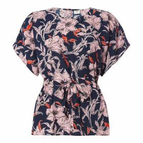 JDY Yadira Floral Top - Sky Captain