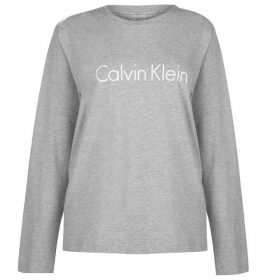 Calvin Klein Calvin Klein Logo Long Sleeve T Shirt Womens - Grey Hthr 020