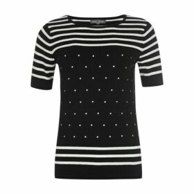 Embroidered Spot and Stripe Jumper