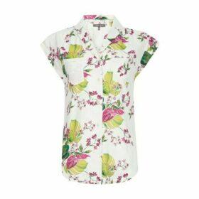 Cap Sleeve Hibiscus Print Blouse