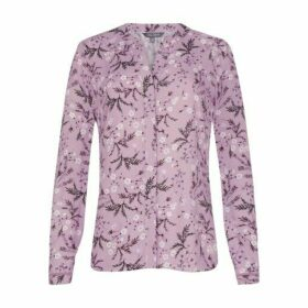 Purple Botanical Button Through Blouse