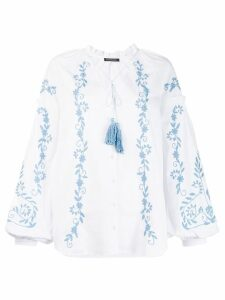 Wandering embroidered puff sleeve blouse - White