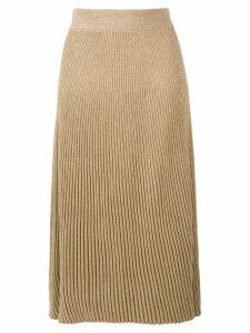 Marni ribbed knit A-line skirt - GOLD