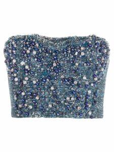 Elisabetta Franchi pearl embellished top - Blue