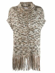 Brunello Cucinelli roll neck fringed top - NEUTRALS