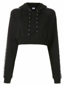 Àlg cropped logo band hoodie - Black