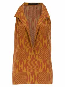 Andrea Marques silk printed blouse - Brown