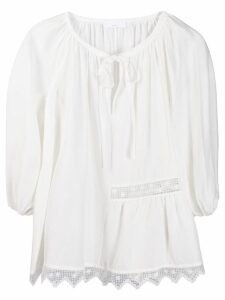P.A.R.O.S.H. lace embroidered blouse - White