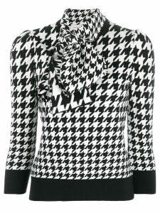 Alexander McQueen houndstooth print blouse - Black
