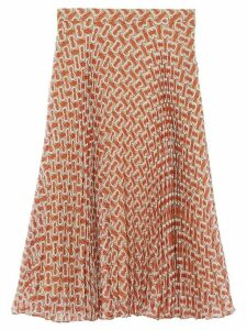 Burberry monogram print pleated skirt - Red