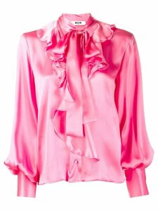MSGM pussy bow ruffled shirt - PINK
