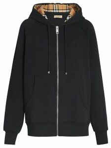 Burberry Vintage Check Detail Jersey Hooded Top - Black
