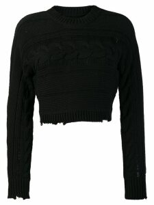 RtA Fever cropped cable knit jumper - Black