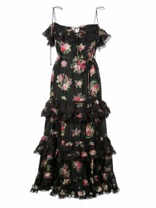 Zimmermann Honour floral print tiered dress - Black