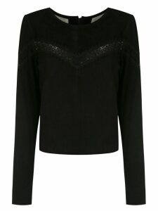Clé leather cropped blouse - Black