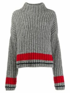Dsquared2 stripe detail ribbed knit jumper - Grey
